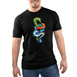 The Four Elements Men's t-shirt model TeeTurtle black t-shirt featuring a green earth dragon, orange fire dragon, blue water dragon, and light blue air dragon swirling around each other.