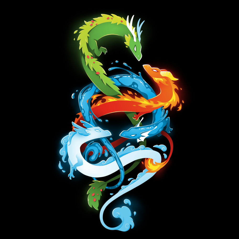The Four Elementsblack t-shirt featuring a green earth dragon, orange fire dragon, blue water dragon, and light blue air dragon swirling around each other.