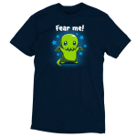 Fear Me! navy t-shirt featuring a cute child-sized Cthulhu with stars in its eyes standing while raising its arms against a background of blue stars.