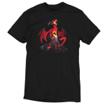 Volcanic Dragon black t-shirt featuring a fearsome, roaring red dragon perched on top of a volcano with its wings extended and its tail partially coiled around the volcano with lava flowing down the sides of the volcano and gray smoke billowing around the base.