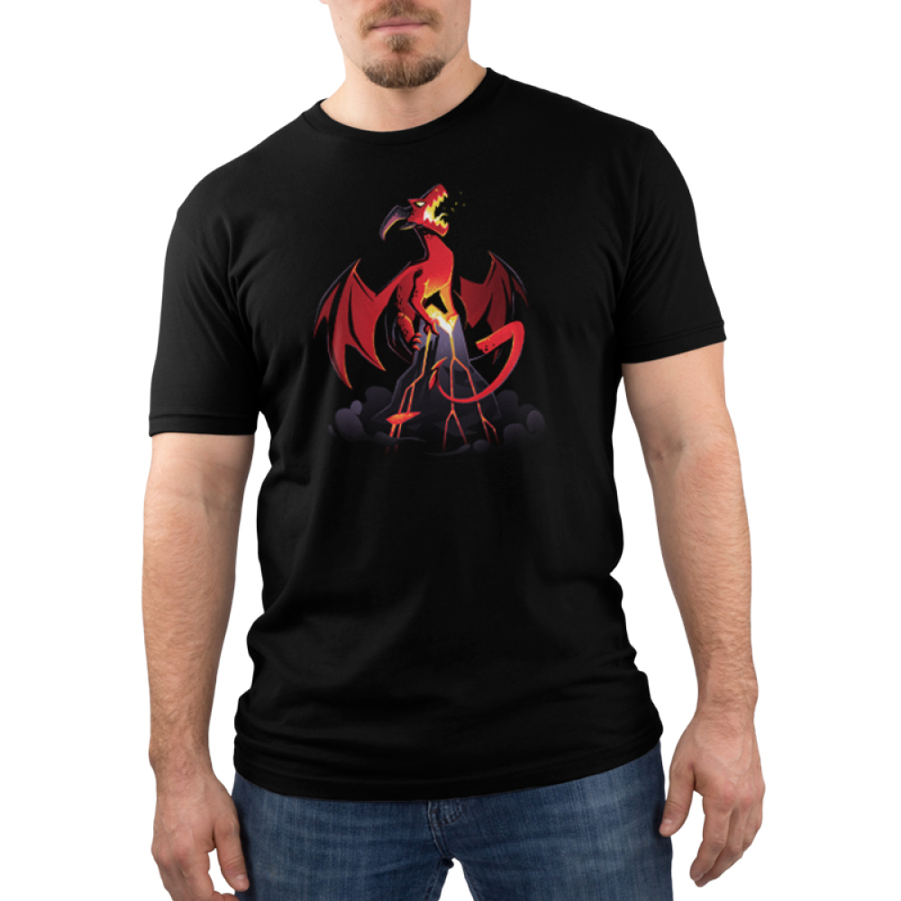 Volcanic Dragon Men's t-shirt model TeeTurtle black t-shirt featuring a fearsome, roaring red dragon perched on top of a volcano with its wings extended and its tail partially coiled around the volcano with lava flowing down the sides of the volcano and gray smoke billowing around the base.