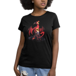 Volcanic Dragon Women's t-shirt model TeeTurtle black t-shirt featuring a fearsome, roaring red dragon perched on top of a volcano with its wings extended and its tail partially coiled around the volcano with lava flowing down the sides of the volcano and gray smoke billowing around the base.