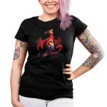 Volcanic Dragon Junior's t-shirt model TeeTurtle black t-shirt featuring a fearsome, roaring red dragon perched on top of a volcano with its wings extended and its tail partially coiled around the volcano with lava flowing down the sides of the volcano and gray smoke billowing around the base.