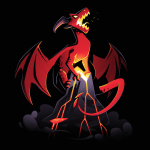 Volcanic Dragonblack t-shirt featuring a fearsome, roaring red dragon perched on top of a volcano with its wings extended and its tail partially coiled around the volcano with lava flowing down the sides of the volcano and gray smoke billowing around the base.