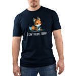 I Can't People Today Men's t-shirt model TeeTurtle navy t-shirt featuring a grumpy orange fox sitting down and holding a controller.