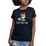 I Can't People Today Women's t-shirt model TeeTurtle navy t-shirt featuring a grumpy orange fox sitting down and holding a controller.