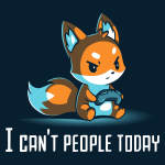 I Can't People Today navy t-shirt featuring a grumpy orange fox sitting down and holding a controller.