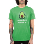 Avoca-don't Mess With Me Men's t-shirt model TeeTurtle apple green t-shirt featuring an angry avocado sliced in half with
