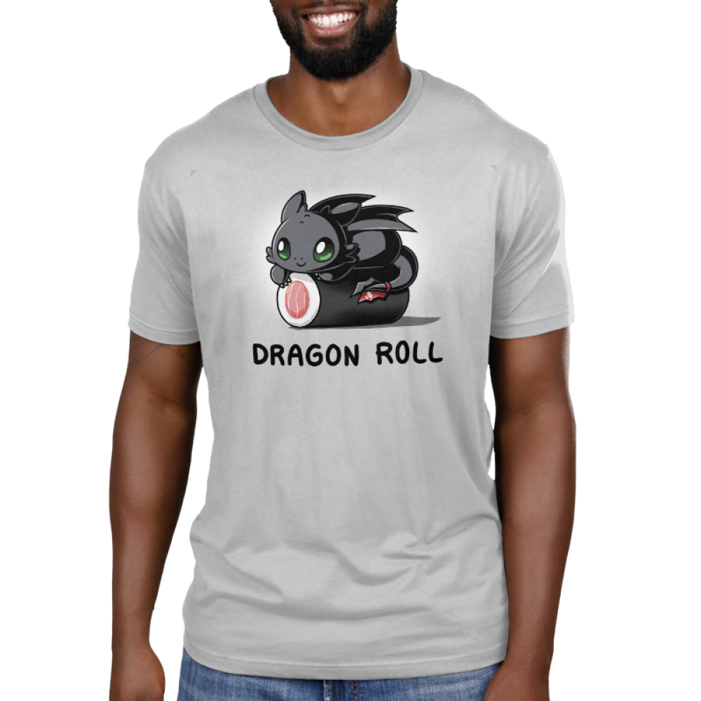 Toothless Dragon Roll Men's t-shirt model officially licensed silver Dreamworks t-shirt featuringToothless from How to Train Your Dragon with Toothless perched on top of a gigantic roll of sushi.