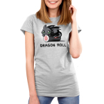 Toothless Dragon Roll Women's t-shirt model officially licensed silver Dreamworks t-shirt featuringToothless from How to Train Your Dragon with Toothless perched on top of a gigantic roll of sushi.
