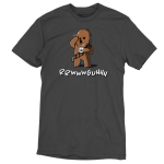Grumpy Chewbacca t-shirt officially licensed charcoal Star Wars t-shirt featuring Chewbacca holding a steaming up of coffee while rubbing his eye and yawning