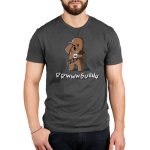 Grumpy Chewbacca Men's t-shirt model officially licensed charcoal Star Wars t-shirt featuring Chewbacca holding a steaming up of coffee while rubbing his eye and yawning