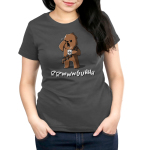 Grumpy Chewbacca Women's t-shirt model officially licensed charcoal Star Wars t-shirt featuring Chewbacca holding a steaming up of coffee while rubbing his eye and yawning