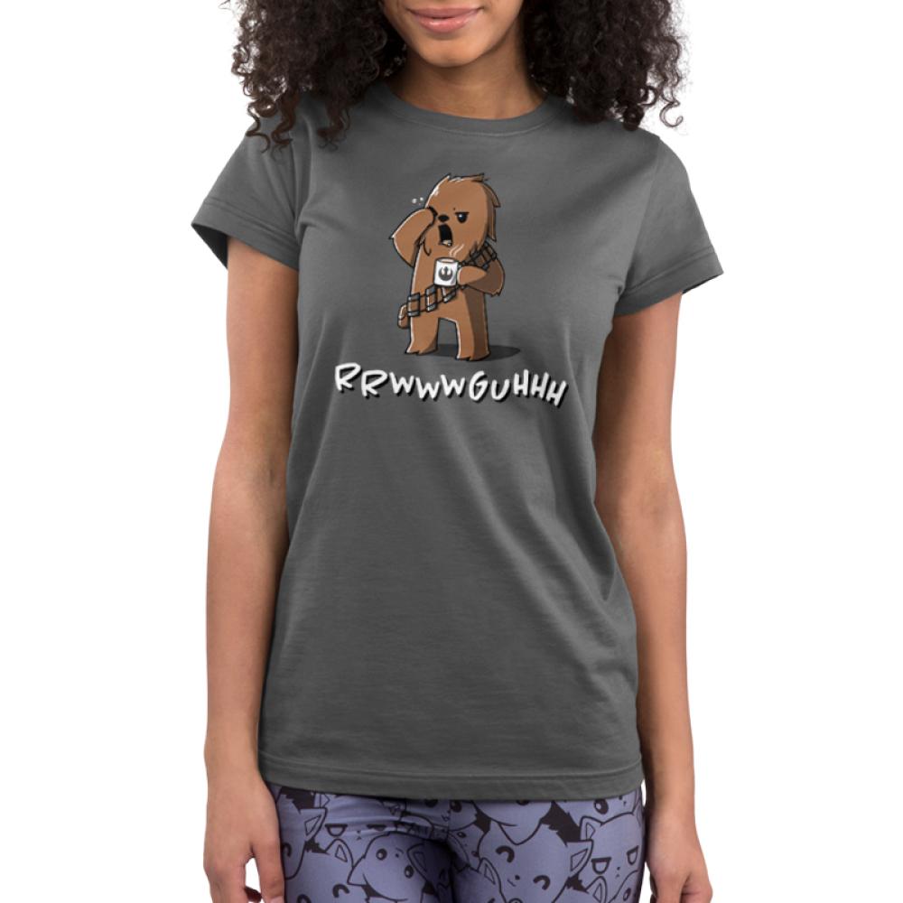 Grumpy Chewbacca Junior's t-shirt model officially licensed charcoal Star Wars t-shirt featuring Chewbacca holding a steaming up of coffee while rubbing his eye and yawning