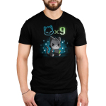 I Have Nine Lives Men's t-shirt model TeeTurtle black t-shirt featuring a gray tabby cat sitting down and playing on a green, blue, and black video game console with a cat icon multipliedby nine above its head, and with a background of blue and white pixel-like wallpaper.