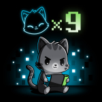 I Have Nine Lives black t-shirt featuring a gray tabby cat sitting down and playing on a green, blue, and black video game console with a cat icon multipliedby nine above its head, and with a background of blue and white pixel-like wallpaper.