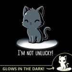 Lucky Kitty (Glow) black t-shirt featuring a smiling, sitting black cat with a light centered on it.