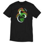 Lucky Dragon t-shirt Teeturtle original black t-shirt featuring a green dragon with red fur, he has a clover tail and is smoking an old school pipe