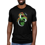 Lucky Dragon Men's t-shirt model Teeturtle original black t-shirt featuring a green dragon with red fur, he has a clover tail and is smoking an old school pipe
