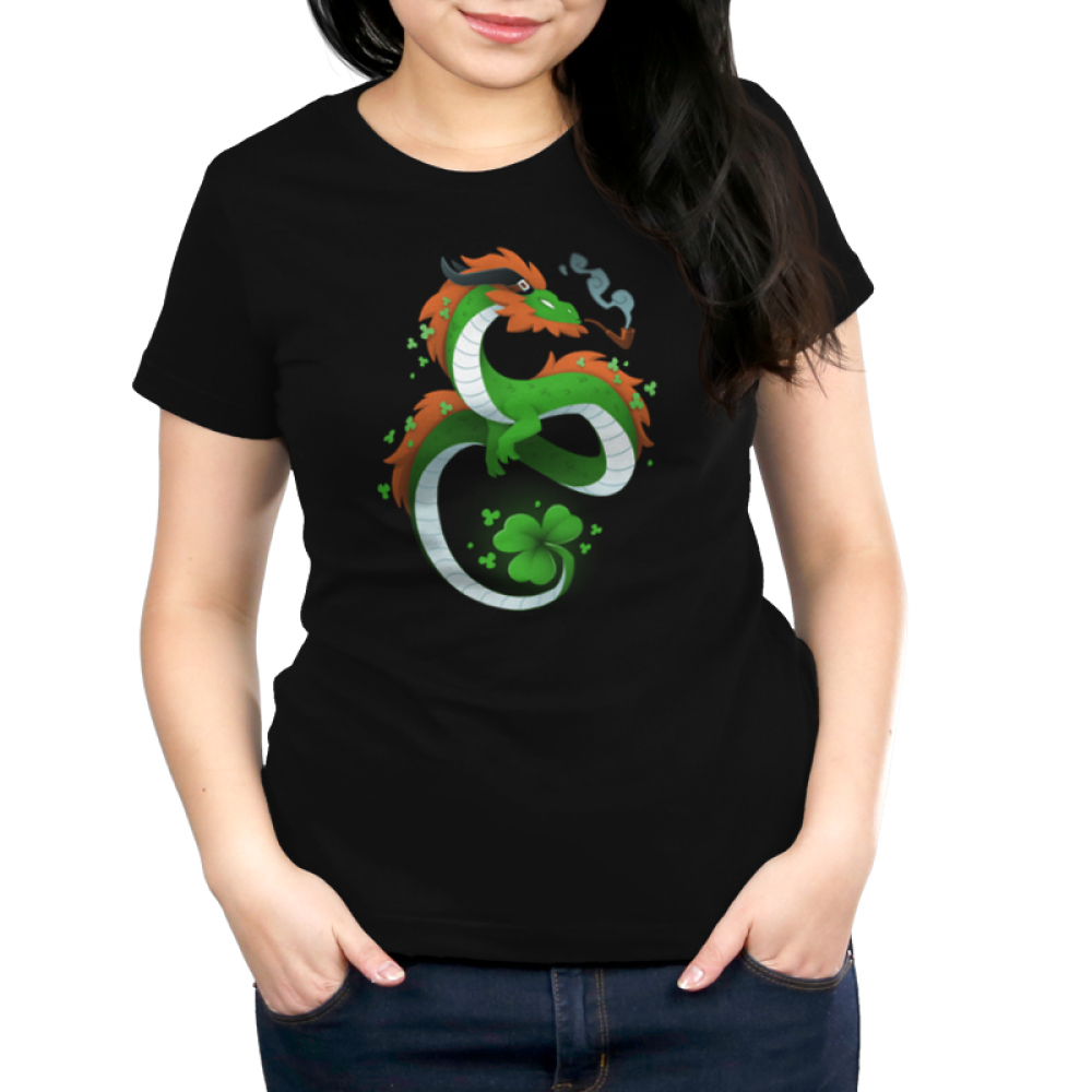 Lucky Dragon Women's t-shirt model Teeturtle original black t-shirt featuring a green dragon with red fur, he has a clover tail and is smoking an old school pipe