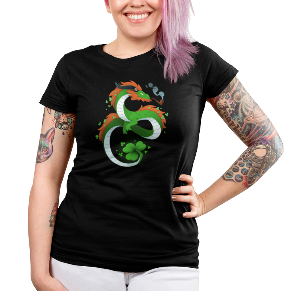 Lucky Dragon Junior's t-shirt model Teeturtle original black t-shirt featuring a green dragon with red fur, he has a clover tail and is smoking an old school pipe