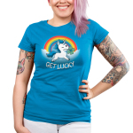 Get Lucky (Unicorn) Juniors t-shirt model TeeTurtle cobalt blue t-shirt featuring a white unicorn with blue fur holding a clover in its mouth with clouds and a rainbow behind him