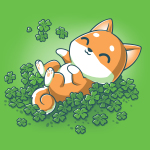 Lucky Shiba t-shirt teeturtle original black t-shirt featuring a happy orange Shiba Inu dog rolling around in green shamrock clovers