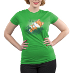Lucky Shiba Juniors t-shirt model teeturtle original black t-shirt featuring a happy orange Shiba Inu dog rolling around in green shamrock clovers