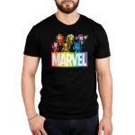 Marvel X-Men mens tshirt model officially licensed black tshirt featuring the x-men in a rainbow fashion
