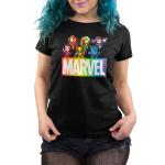 Marvel X-Men womens tshirt model officially licensed black tshirt featuring the x-men in a rainbow fashion