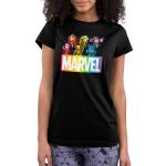Marvel X-Men juniors tshirt model officially licensed black tshirt featuring the x-men in a rainbow fashion
