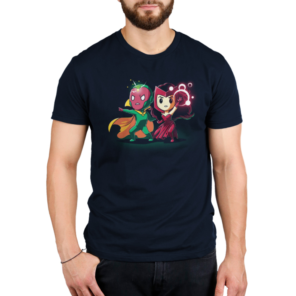 Vision and Scarlet Witch Men's tshirt model officially licensed navy tshirt featuring Vision and Scarlet Witch using their powers