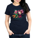 Vision and Scarlet Witch Women's tshirt model officially licensed navy tshirt featuring Vision and Scarlet Witch using their powers