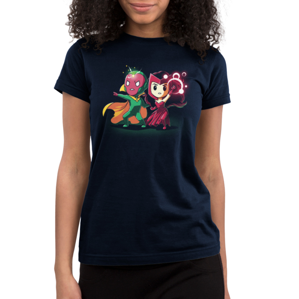 Vision and Scarlet Witch Junior's tshirt model officially licensed navy tshirt featuring Vision and Scarlet Witch using their powers