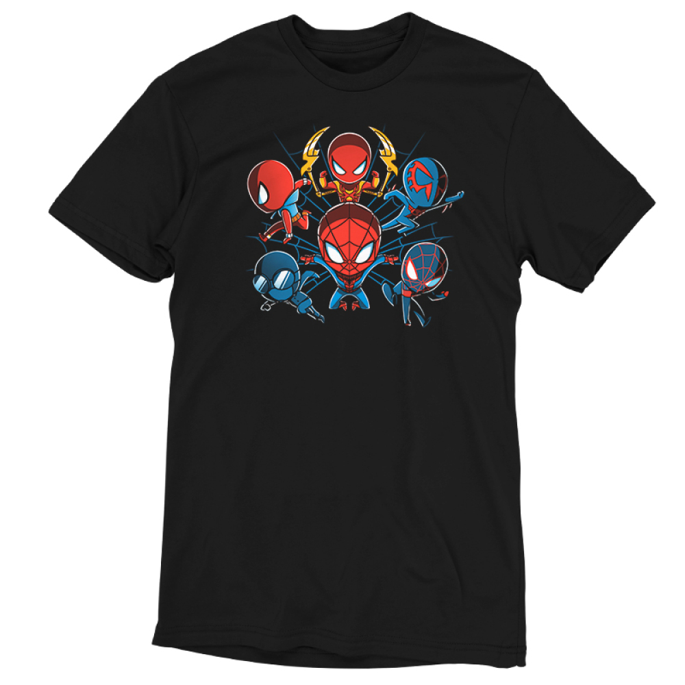 Spider-men tshirt officially licensed black tshirt featuring 6 versions of spider-man from Into the Spider-Verse