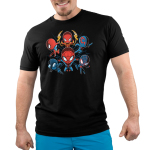 Spider-men Men's tshirt model officially licensed black tshirt featuring 6 versions of spider-man from Into the Spider-Verse