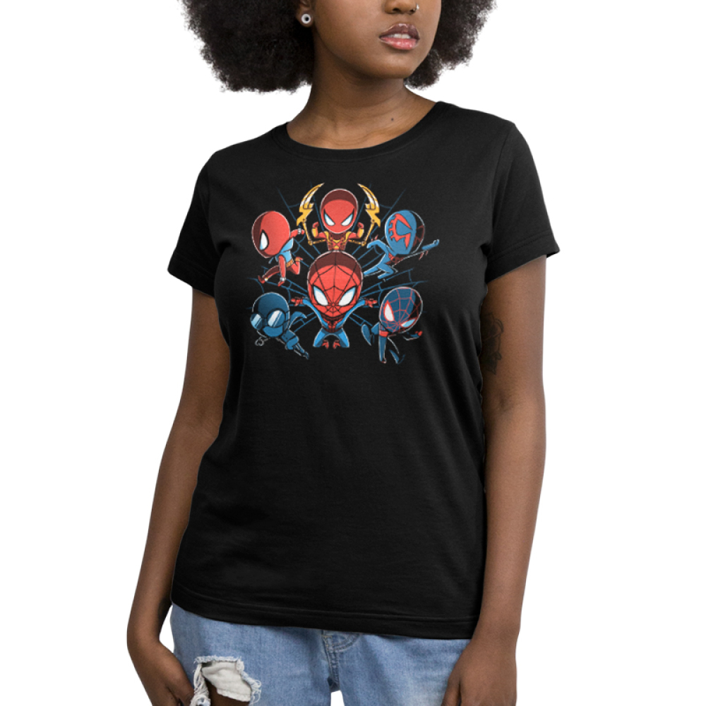 Spider-men Women's tshirt model officially licensed black tshirt featuring 6 versions of spider-man from Into the Spider-Verse