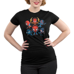 Spider-men Junior's tshirt model officially licensed black tshirt featuring 6 versions of spider-man from Into the Spider-Verse