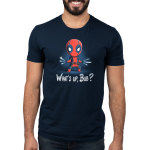 What's Up, Bub mens tshirt model officially licensed navy tshirt featuring Deadpool parodying wolveriines claws with utensils