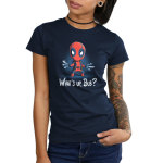 What's Up, Bub juniors tshirt model officially licensed navy tshirt featuring Deadpool parodying wolveriines claws with utensils