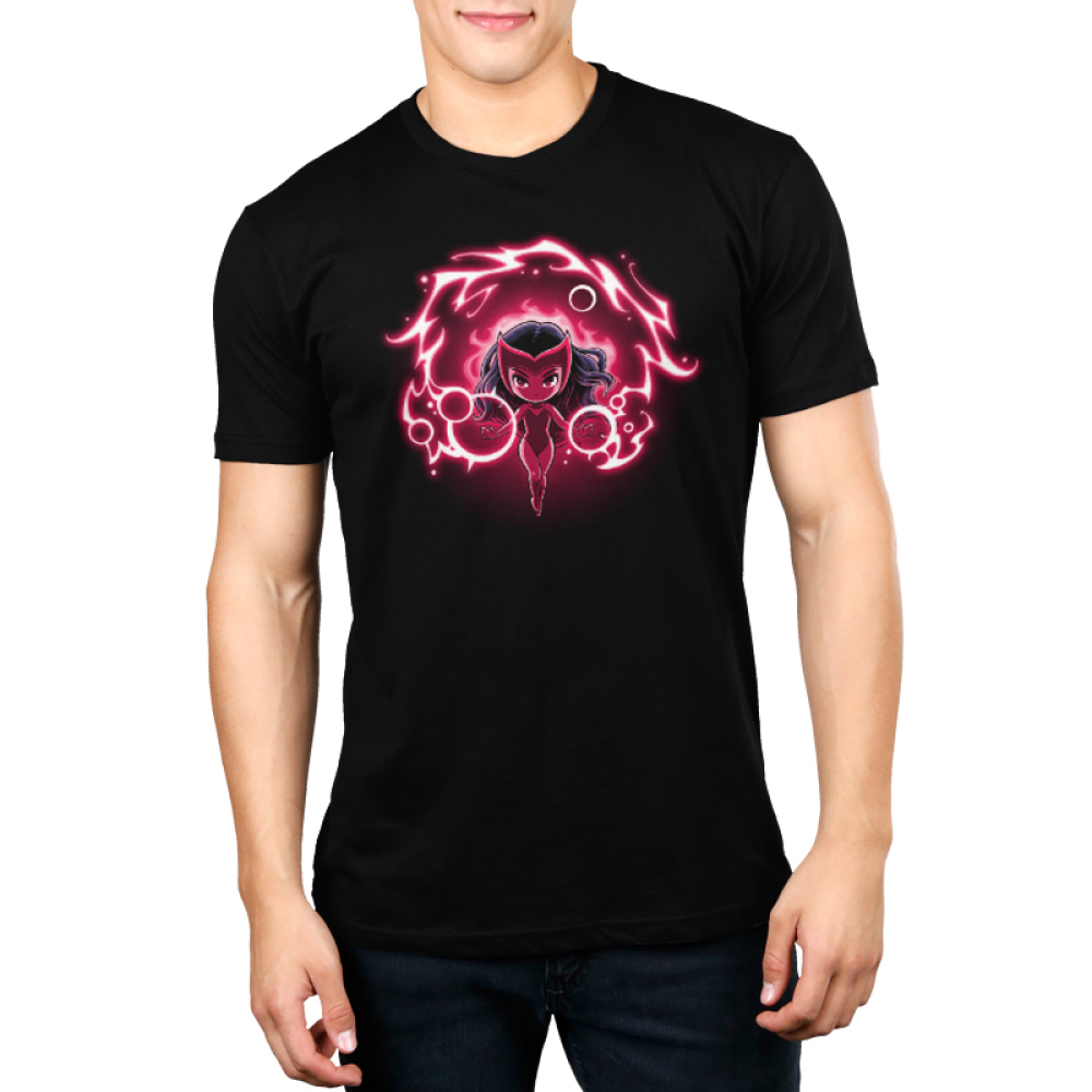 Scarlet Witch Men's tshirt model officially licensed black tshirt featuring scarlet witch floating in her magic