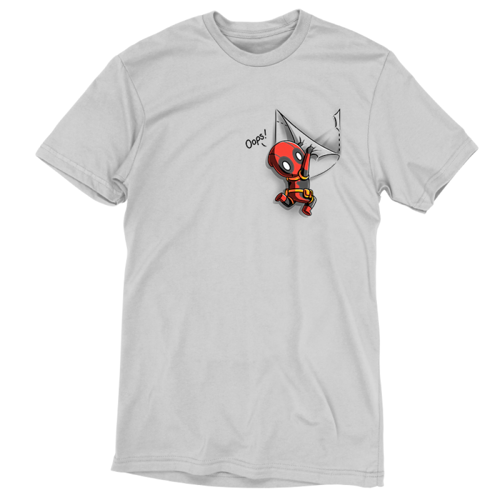 Deadpool Pocket tshirt officially licensed silver tshirt featuring Deadpool hanging off the pocket of the shirt saying