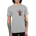 Deadpool Pocket mens tshirt model officially licensed silver tshirt featuring Deadpool hanging off the pocket of the shirt saying