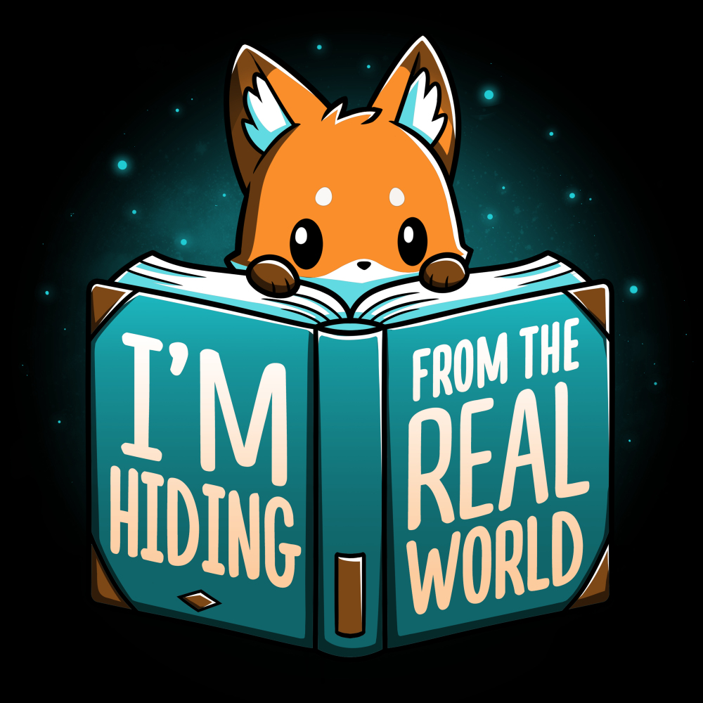 I'm Hiding From the Real World t-shirt TeeTurtle black t-shirt featuring a fox crouching behind a big blue book with his paws and head peaking over the pages