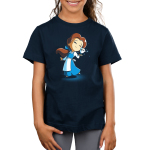 BFFs (Belle and Chip) Kid's t-shirt model officially licensed navy t-shirt featuring Belle and Chip smiling and touching faces