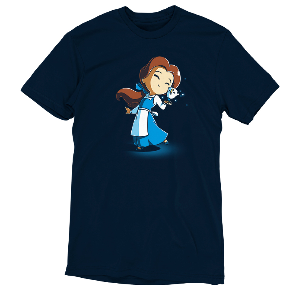 BFFs (Belle and Chip) t-shirt officially licensed navy t-shirt featuring Belle and Chip smiling and touching faces