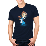 BFFs (Belle and Chip) Men's t-shirt model officially licensed navy t-shirt featuring Belle and Chip smiling and touching faces