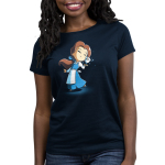 BFFs (Belle and Chip) Women's t-shirt model officially licensed navy t-shirt featuring Belle and Chip smiling and touching faces