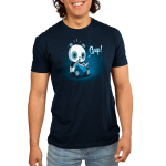 Plot Twist Men's t-shirt model TeeTurtle navy t-shirt featuring a panda sitting on the ground holding open a blue book with a surprised look on its face and its paw up to its mouth with little twinkling lights behind him
