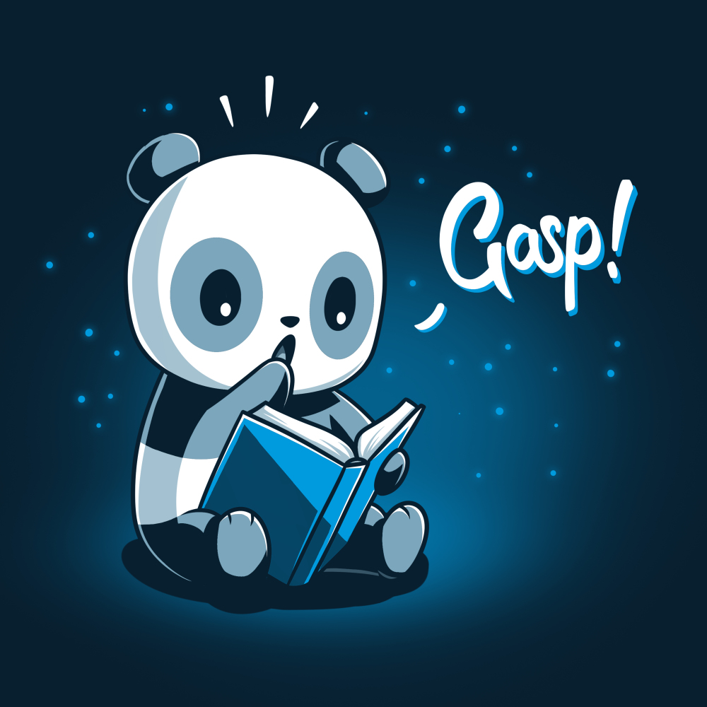 Plot Twist t-shirt TeeTurtle navy t-shirt featuring a panda sitting on the ground holding open a blue book with a surprised look on its face and its paw up to its mouth with little twinkling lights behind him